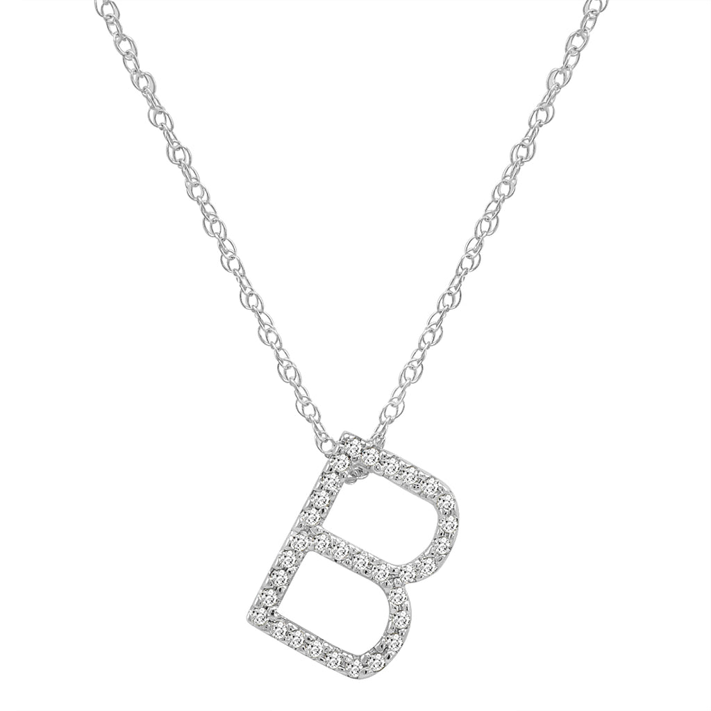 "14K White Gold Diamond ""B"" Initial Pendant, 16"" Necklace"