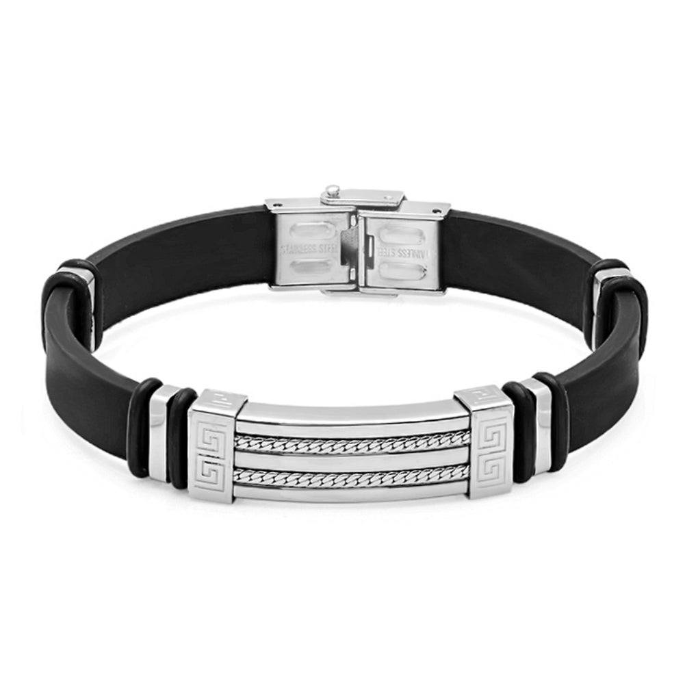 Oxford Ivy  Black Rubber Bracelet with Locking Stainless Steel Clasp 8 1/2 inches , Bracelets - MLG Jewelry, MLG Jewelry