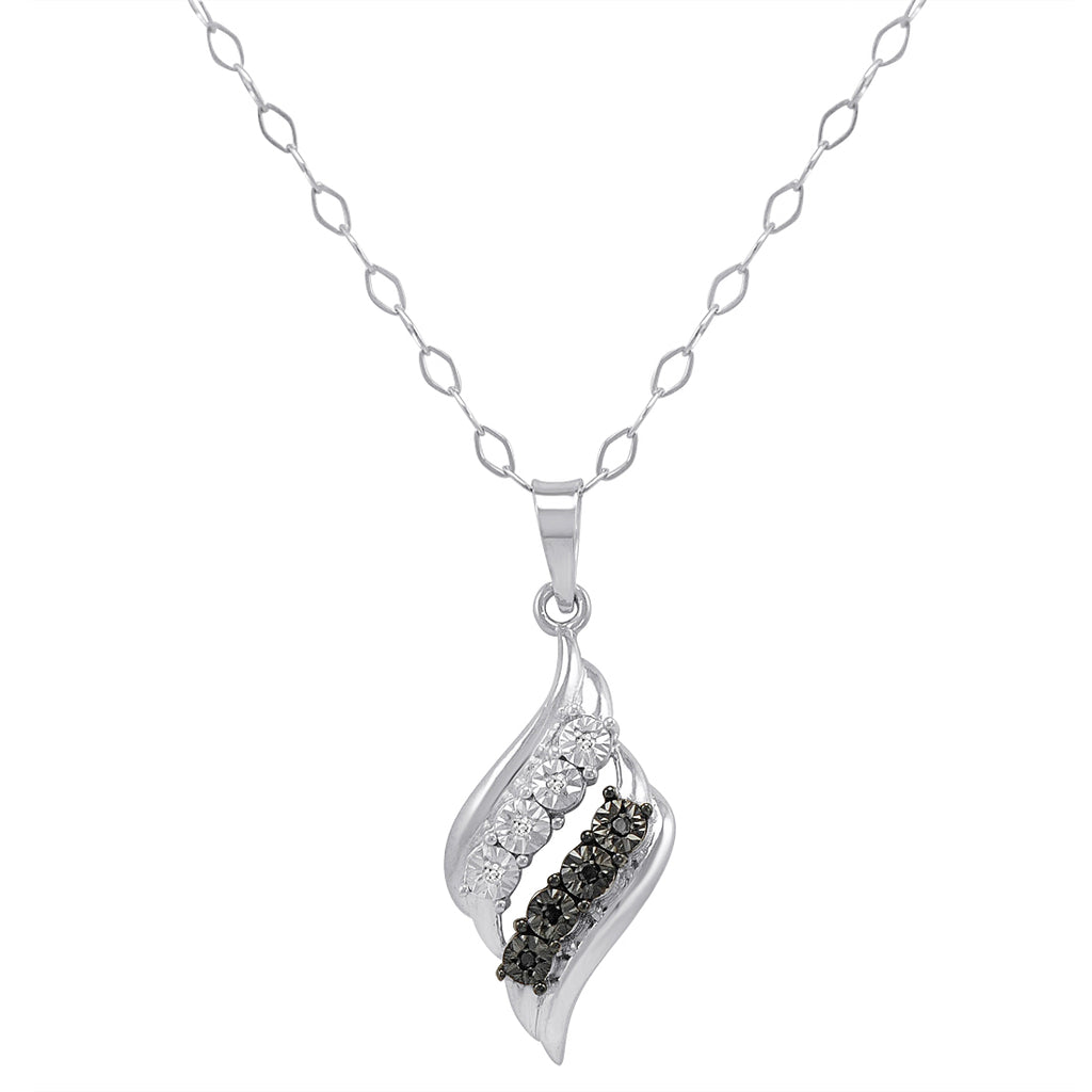 IGI Certified Sterling Silver Black and White Diamond Swirl Pendant-Necklace 18 in.