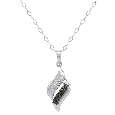 Sterling Silver Black and White Diamond Swirl Pendant-Necklace 18 in.