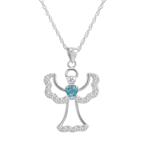 Swiss Blue and White Topaz Angel Pendant-Necklace in Sterling Silver