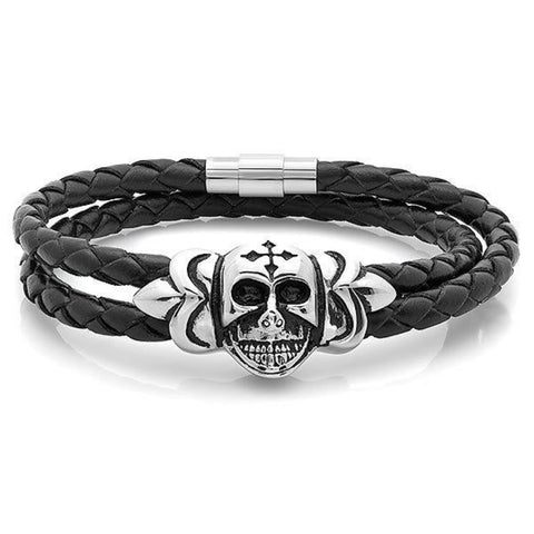 Braided Black Leather Wrap Around Steel Skull with Cross Bracelet