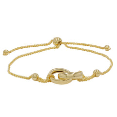 Amanda Rose Interlocking Circle Bolo Bracelet in 14k Yellow Gold (Adjustable)