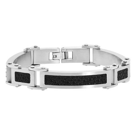 Men's Stainless Steel Link Bracelet with Black Stingray