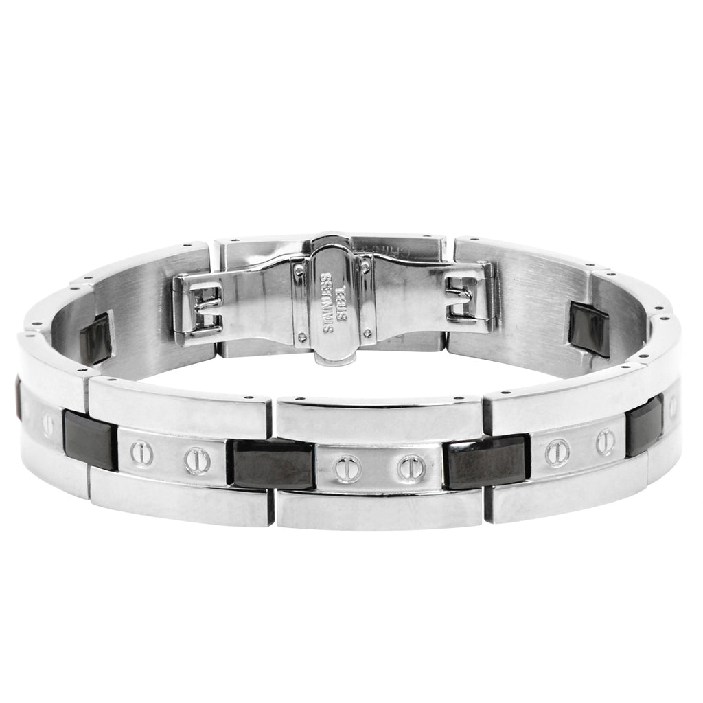 Men's Stainless Steel and Ceramic Accent Link Bracelet