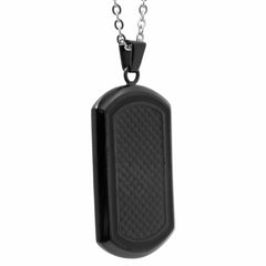 Men's Black Stainless Steel and Carbon Fiber Dog Tag Necklace on a 22 inch Chain , Bracelets - MLG Jewelry, MLG Jewelry  - 3