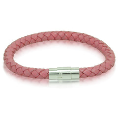 Ladies Braided Pink Leather Bracelet with Stainless Steel Magnetic Locking Clasp 6mm 7 1/2 inches