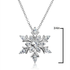 Sterling Silver Snowflake Pendant-Necklace made with Swarovski Crystals , Gifts Under $99 - MLG Jewelry, MLG Jewelry  - 2