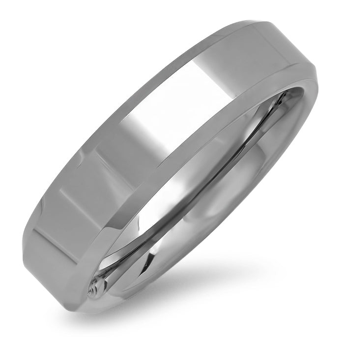 6mm Beveled Edge Plain Comfort Fit Tungsten Carbide Wedding Band ( Available Ring Sizes 8-12 1/2)