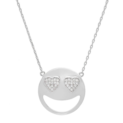 Cubic Zirconia Heart Eyes Emoji Pendant-Necklace in Sterling Silver on an 18 inch chain