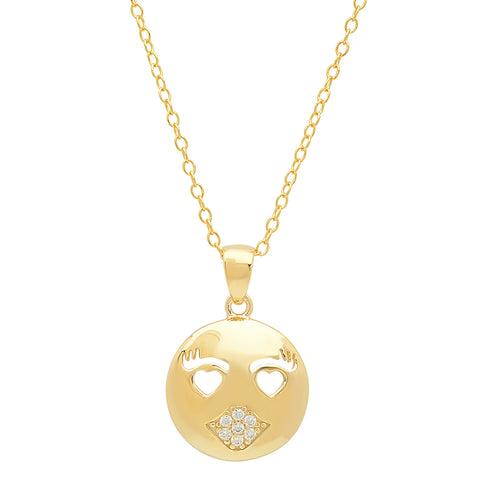 Cubic Zirconia Kissy Face Emoji Pendant-Necklace in Gold Over Sterling Silver on an 18 inch chain