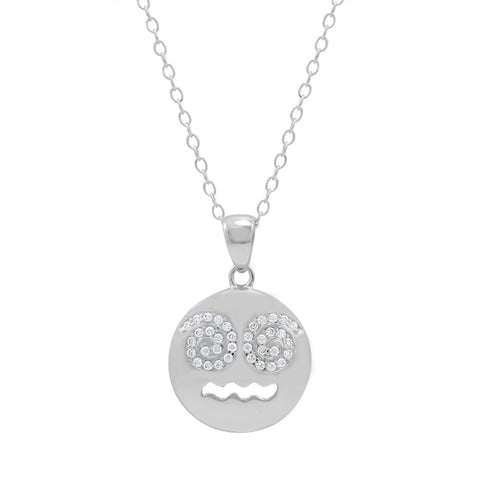 Cubic Zirconia Dizzy Face Emoji Pendant-Necklace in Sterling Silver on an 18 inch chain