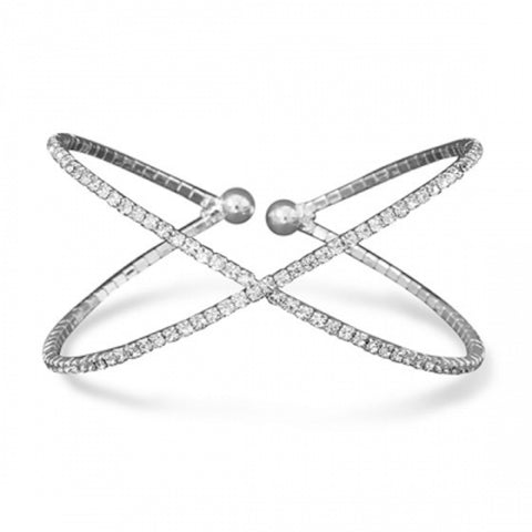 "Amanda Rose Silver Tone Criss Cross ""X"" Crystal Fashion Memory Bracelet"