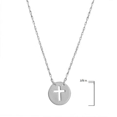 Amanda Rose 14k White Gold Cross Disc Necklace on an Adjustable 16-18 in. Chain , Pendants, trend - MLG Jewelry, MLG Jewelry  - 3
