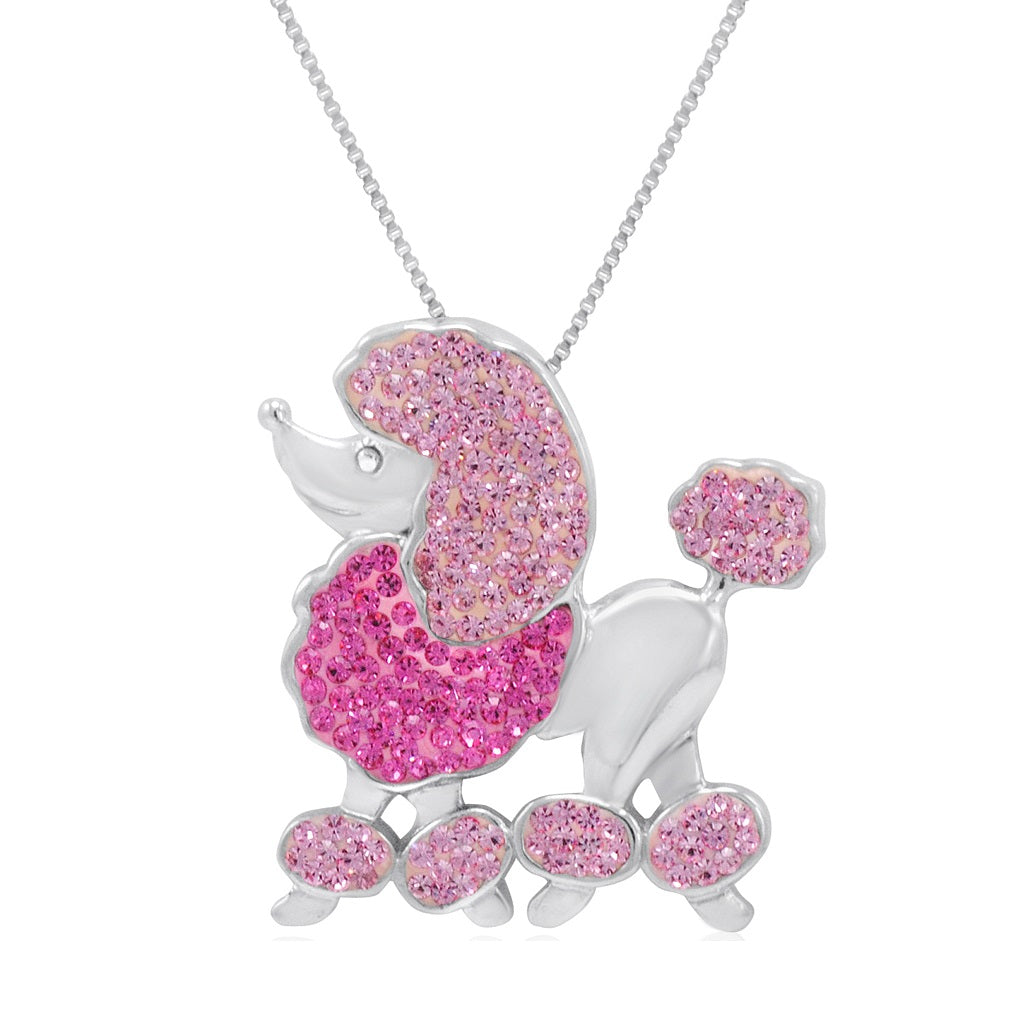 Sterling Silver Poodle Pendant-Necklace made with Swarovski Crystals , Gifts Under $99 - MLG Jewelry, MLG Jewelry  - 1