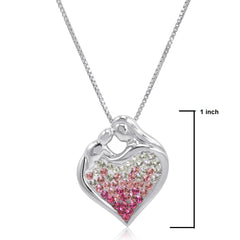 Sterling Silver Pink Ombre Crystal Mom and Child Heart Pendant with Swarovski Elements , Gifts Under $99 - MLG Jewelry, MLG Jewelry  - 2