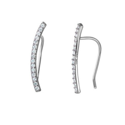 Amanda Rose Cubic Zirconia Curved Bar Ear Crawlers in Sterling Silver