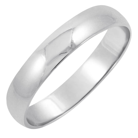 Men's 10K White Gold 4mm Classic Fit Plain Wedding Band (Available Ring Sizes 7-12 1/2)