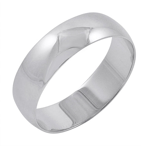 Men's 10K White Gold 6mm Traditional Plain Wedding Band (Available Ring Sizes 8-12 1/2)