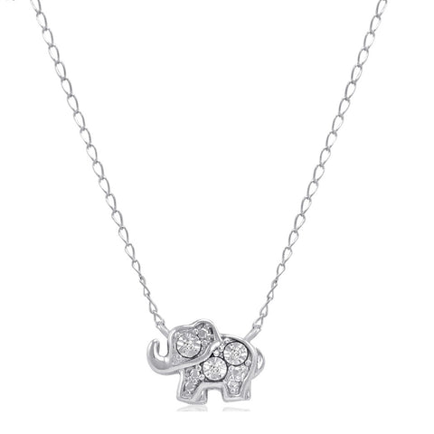 Teeny-Tiny Sterling Silver Diamond Elephant Necklace 17 inch