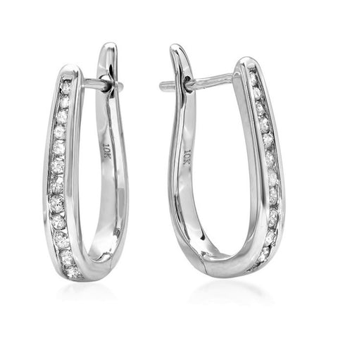 AGS Certified 1/4ct TW Diamond Hoop Earrings in 10K Yellow or White Gold