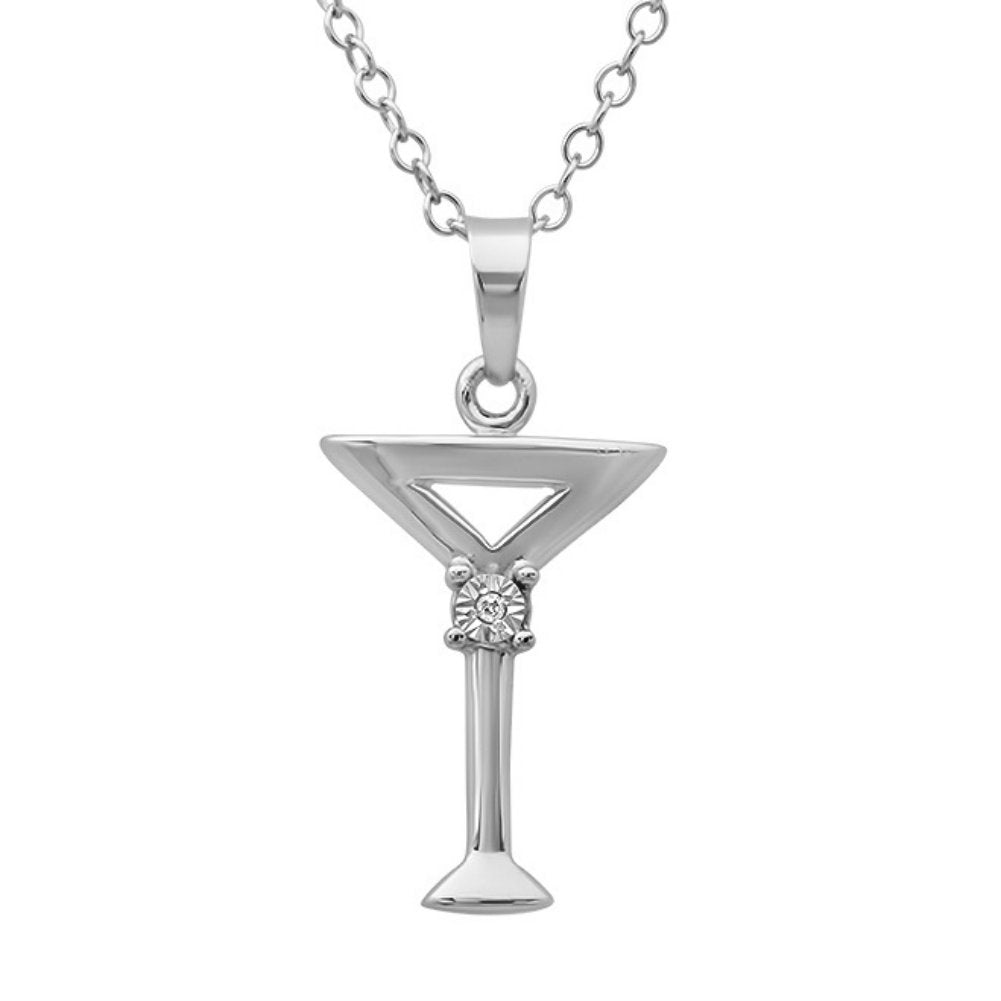 Sterling Silver Diamond Martini Glass Pendant-Necklace on an 18inch Chain