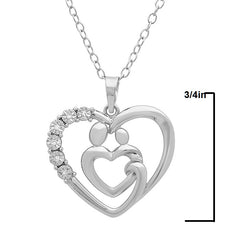 Sterling Silver Mother and Child Diamond Heart Pendant-Necklace on an 18 inch Chain , Pendants - MLG Jewelry, MLG Jewelry  - 2