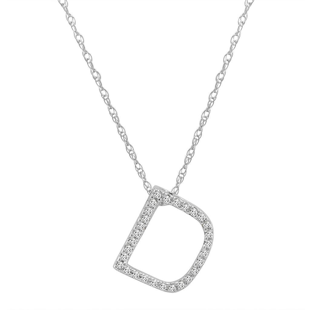 "14K White Gold Diamond ""D"" Initial Pendant, 16"" Necklace"