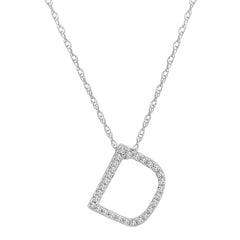 "14K White Gold Diamond ""D"" Initial Pendant, 16"" Necklace , Pendants - MLG Jewelry, MLG Jewelry  - 1"
