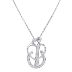 Sterling Silver 1/10ct TW  Diamond Mother and Children Family Heart Pendant Necklace on an 18 inch Chain