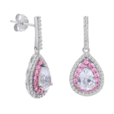Lab Grown Pink and White Sapphire Dangle Tear Drop Earrings in Sterling Silver