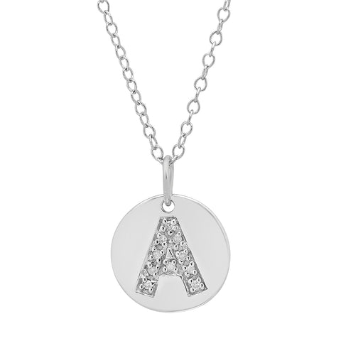Sterling Silver Diamond Initial A Disc Pendant-Necklace