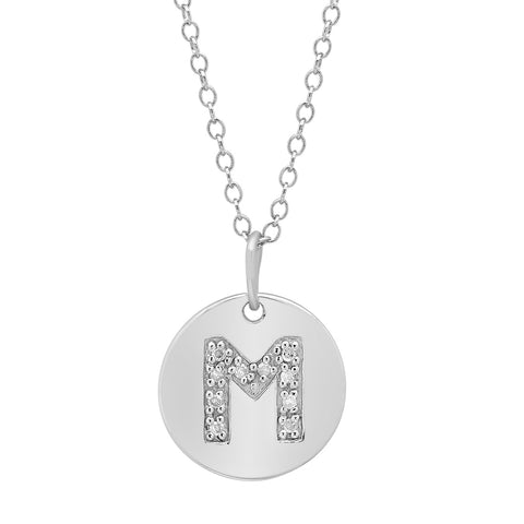 Sterling Silver Diamond Initial M Disc Pendant-Necklace