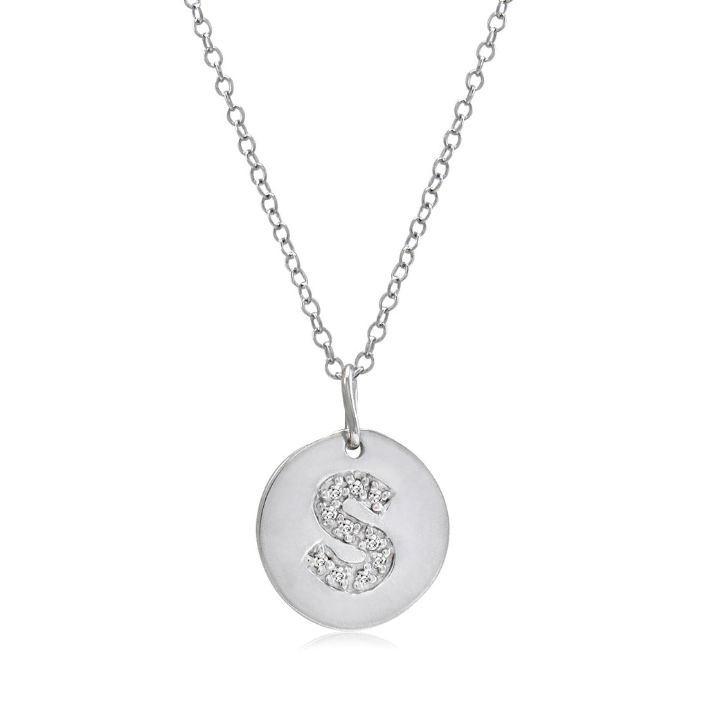 Diamond Disc Initial Pendant in Sterling Silver on an 18 inch chain