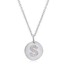 Diamond Disc Initial Pendant in Sterling Silver , Pendants, Wish - MLG Jewelry, MLG Jewelry  - 1