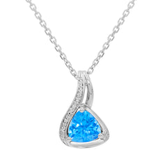 Trillion Swiss Blue Topaz and Diamond Pendant - Necklace in .925 Sterling Silver