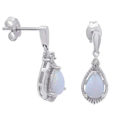 Lab Created Opal Dangle Earrings in .925 Sterling Silver