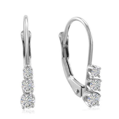 AGS Certified 1/4ct Three Stone Diamond Leverback Earrings in 10K Gold