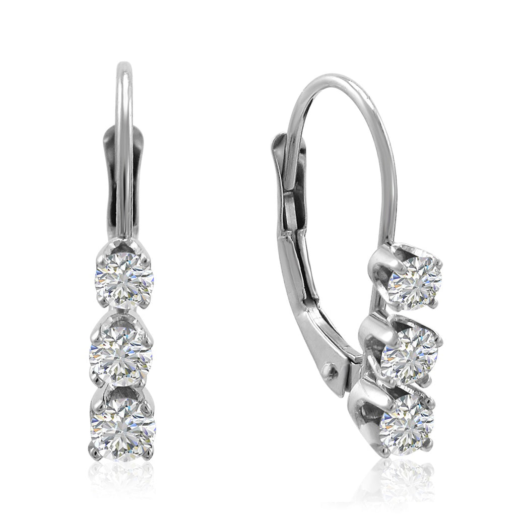AGS Certified 1/2ct TW Diamond Lever Back Earrings in 14K Gold