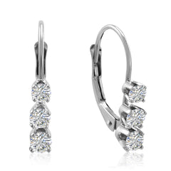 AGS Certified 1/2ct TW Three Stone Diamond Earrings in 14K White Gold
