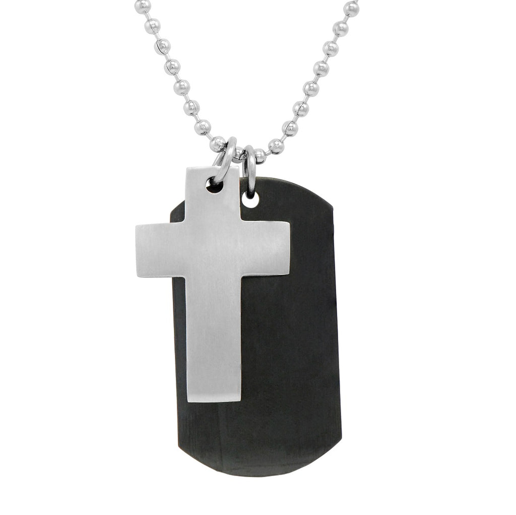 Men's Stainless Steel 2-piece  Dog Tag with Cross Necklace on a 22 inch chain , Bracelets - MLG Jewelry, MLG Jewelry  - 1