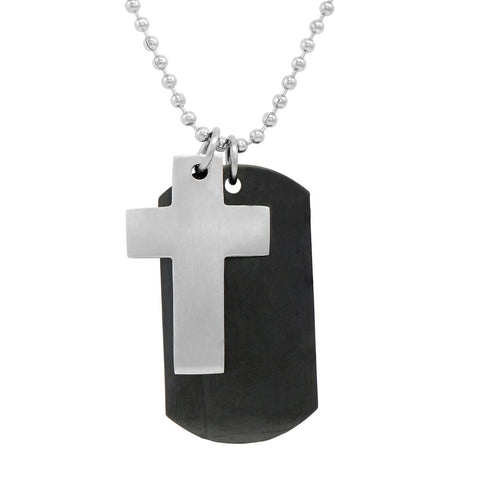 Dog Tag with Cross Necklace on Stainless Steel Chain