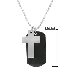 Men's Stainless Steel 2-piece  Dog Tag with Cross Necklace on a 22 inch chain , Bracelets - MLG Jewelry, MLG Jewelry  - 2