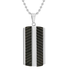 Men's Stainless Steel Textured Black Dog Tag Pendant- Necklace on a 22 inch chain