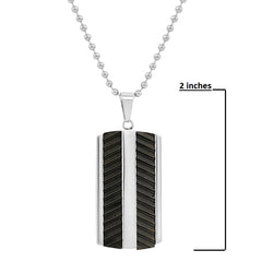 Men's Stainless Steel Textured Black Dog Tag Pendant- Necklace on a 22 inch chain , Bracelets - MLG Jewelry, MLG Jewelry  - 2