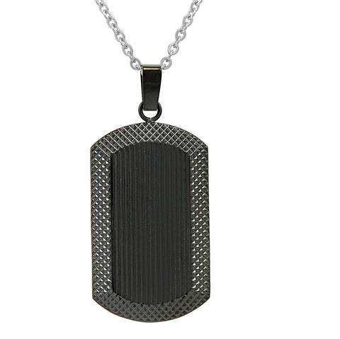 Men's Black Plated Stainless Steel  Dog Tag Necklace
