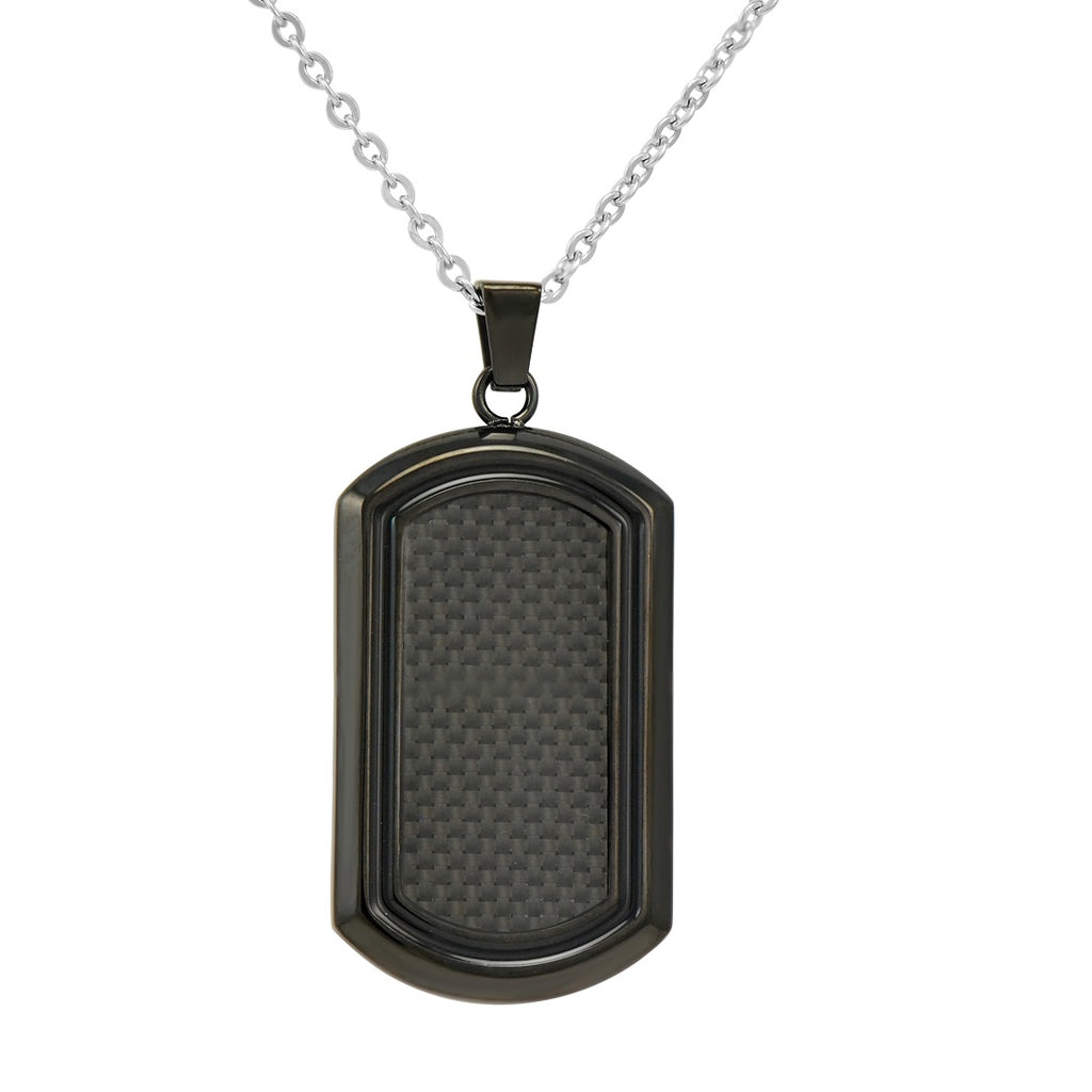 Men's Black Stainless Steel and Carbon Fiber Dog Tag Necklace on a 22 inch Chain