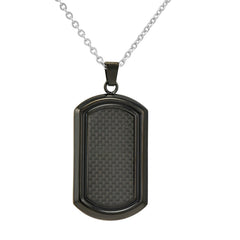 Men's Black Stainless Steel and Carbon Fiber Dog Tag Necklace on a 22 inch Chain , Bracelets - MLG Jewelry, MLG Jewelry  - 1