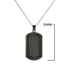 Men's Black Stainless Steel and Carbon Fiber Dog Tag Necklace on a 22 inch Chain , Bracelets - MLG Jewelry, MLG Jewelry  - 2