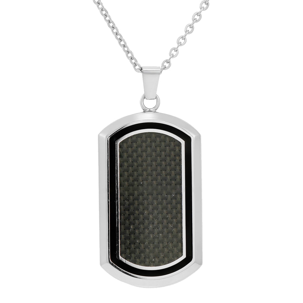 Stainless Steel with Carbon Fiber Dog Tag Necklace
